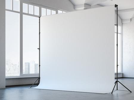 Blank white studio background in modern loft interior. 3d rendering