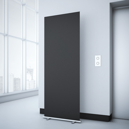 rollup: Black roll up in bright office interior with elevator. 3d rendering Stock Photo