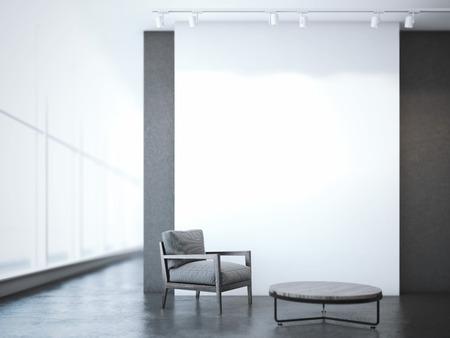 recepcion: Interior de la oficina con la mesa redonda y un sillón. Las 3D