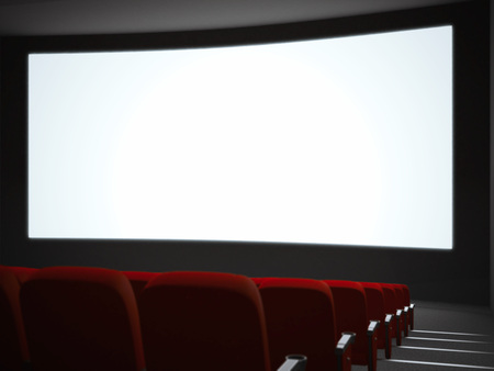 cinema screen: Empty cinema screen with auditorium and red chairs. 3d rendering Stock Photo