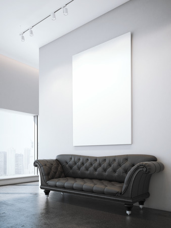 white interior: Vintage brown leather sofa and white blank poster in modern interior. 3d rendering