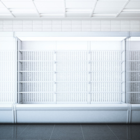 refrigerator with food: Opened refrigerator  in the store with white tiles. 3d rendering