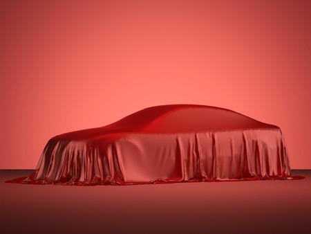 Präsentation der modernen Rennwagen mit rotem Tuch bedeckt