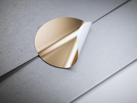 흰색 빈 봉투에 라운드 황금 스티커