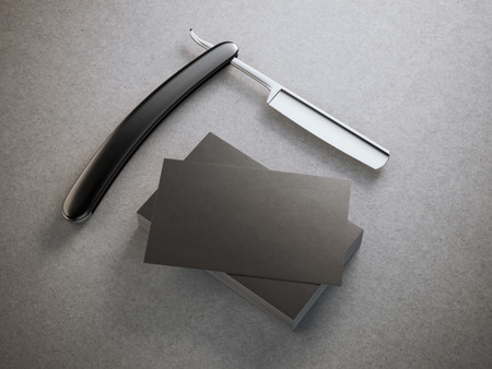 black barber: Razor with stack of black business cards Stock Photo