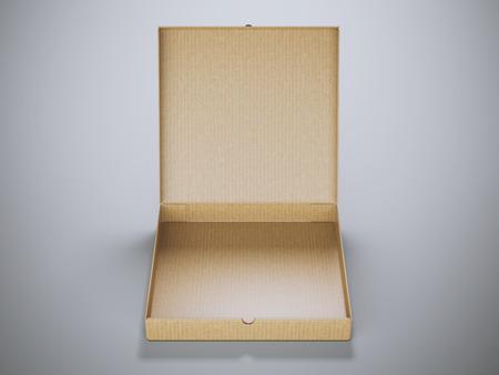 packer: Opened cardboard package in gray modern studio