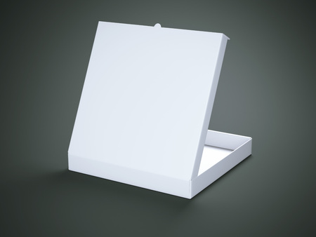 packer: White opened cardboard package isolated on gray background