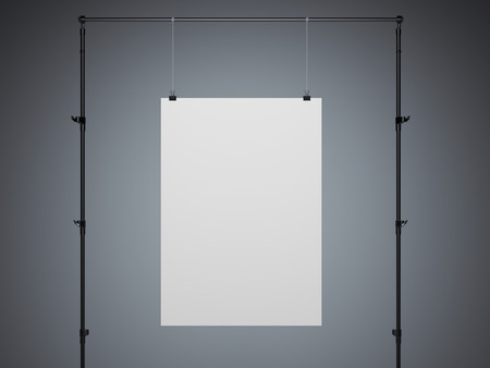 white poster: White poster hanging in a modern studio