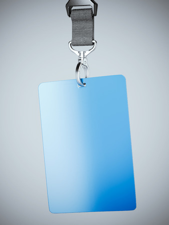 neckband: Blue blank badge with neckband hanging in bright studio