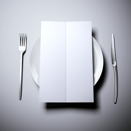 dinner menu: Plate with blank white dinner menu and cutlery
