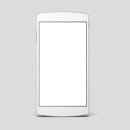 White modern smartphone with blank screen in a gray studio