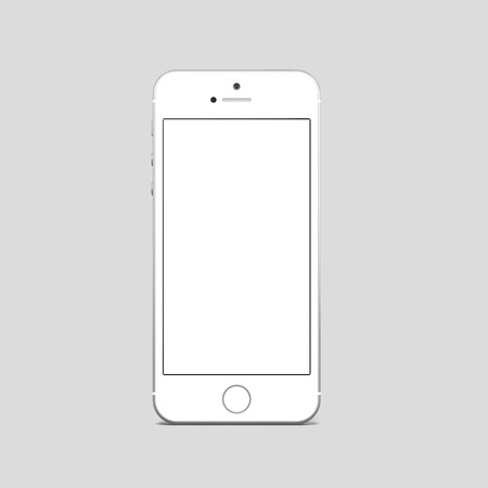 respond: White smartphone with blank screen in a gray modern studio