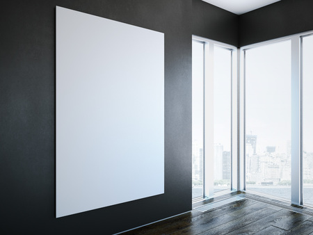 office wall: White canvas on wall in modern interior with windows. 3d rendering