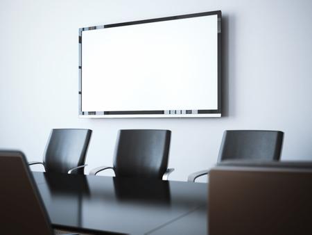 빈 tv 화면을 가진 현대 사무실 내부입니다. 3 차원 렌더링 스톡 콘텐츠