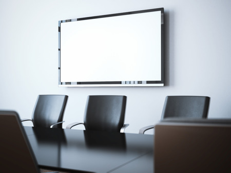 Modern office interior with blank tv screen. 3d rendering