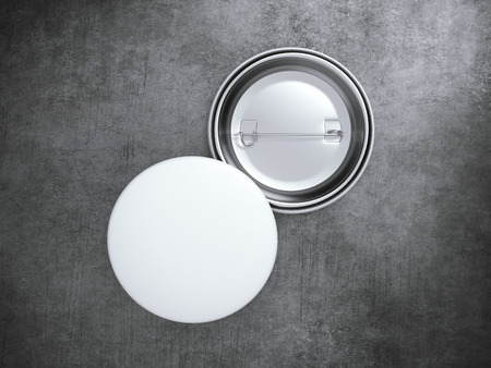 realist: Two Blank badges on the concrete floor. 3d rendering