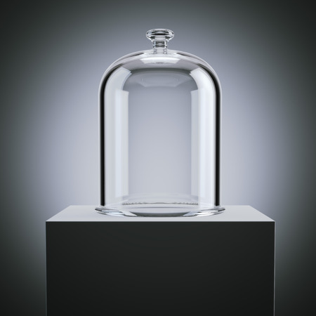Glasglocke im modernen Studio. 3D-Rendering