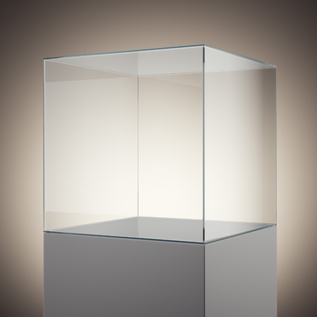 double volume: Empty glass cube on white podium. 3d rendering