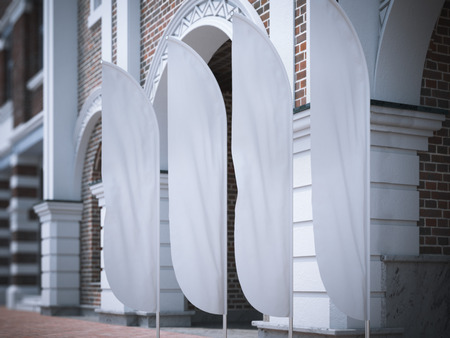 Four white vertical wind banners on the street. 3d rendering Stock fotó
