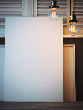 white canvas: Vertical white canvas in artists workshop. 3d rendering