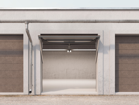 mini: Empty storage unit with opened brown door and light inside. 3d rendering