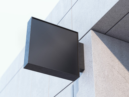 Black square signboard on the office building. 3d rendering