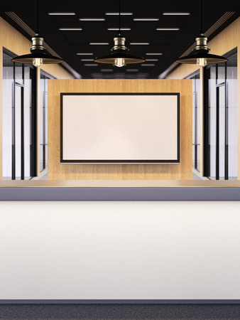 areas: Office lobby with a reception desk and big tv on wooden wall. 3d rendering Stock Photo