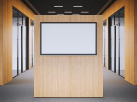 Lobby van het kantoor met een grote moderne tv staan. 3D-rendering
