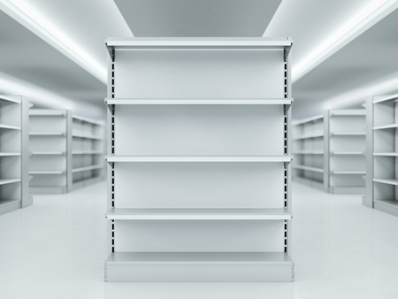 fixtures: Metal clean shelves in modern market. 3d rendering