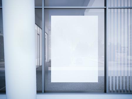 Blanc affiche vierge sur la fenêtre du bureau. rendu 3d