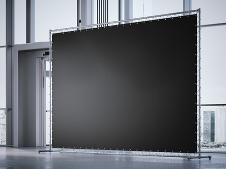 advertisements: Blank black banner in the modern  office hall. 3d rendering