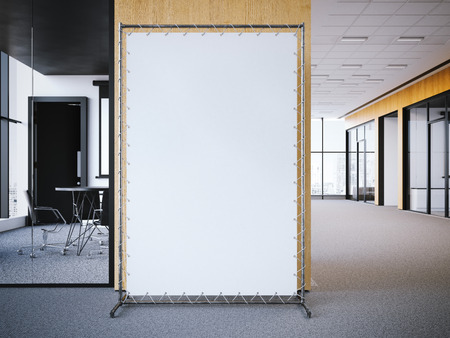 ad board: White vertical banner in the office interior. 3d rendering