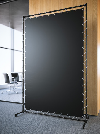 commercials: Black vertical banner in the office interior. 3d rendering