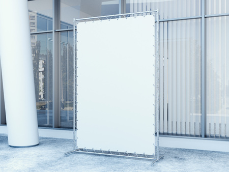 display: white vertical banner near modern office building. 3d rendering