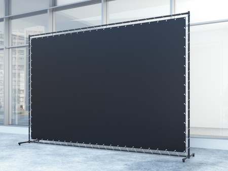 office windows: Black banner in the office building with windows. 3d rendering Stock Photo