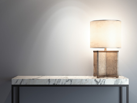 White Marble table with bright lamp. 3d rendering