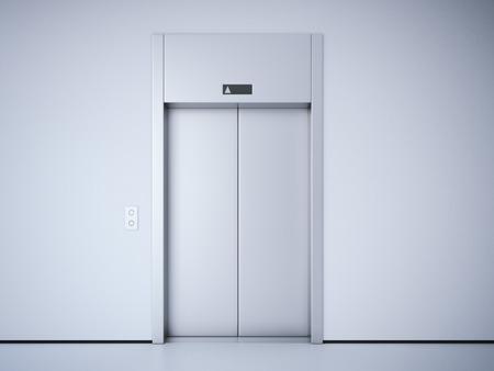 lift gate: Modern elevator with closed metal  doors. 3d rendering