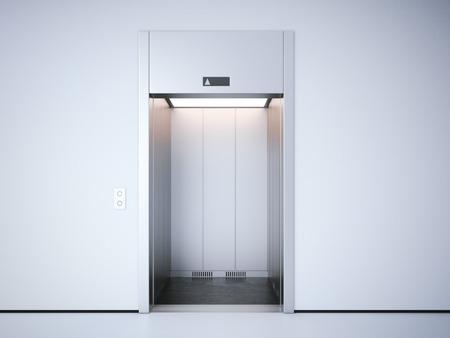stainless: Modern elevator with opened metal  doors. 3d rendering