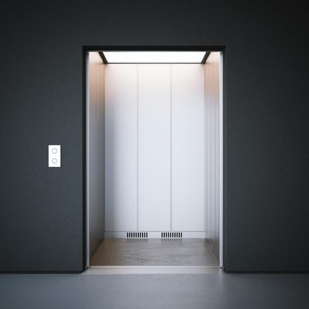 lift gate: Modern elevator with closed metal  doors and dark walls. 3d rendering