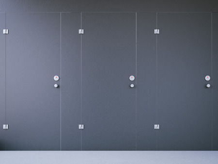 freshener: Closed public toilet cubicles with black doors. 3d rendering