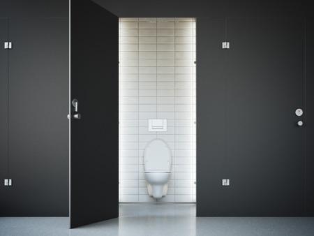 Aperto cubicolo bagno pubblico con porta nera. rendering 3D Archivio Fotografico