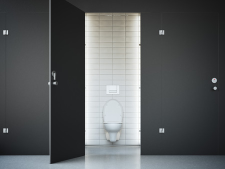 public restroom: Opened public toilet cubicle with black door. 3d rendering Stock Photo