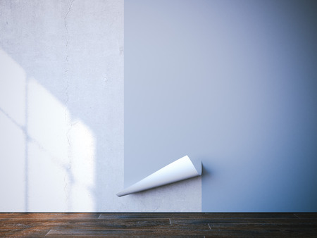 putting up: Putting up blue wallpaper in bright interior. 3d rendering