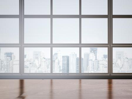Bureau table et fenêtre en bois. Rendu 3D