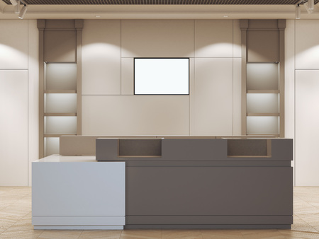 forepart: Boutique interior with modern reception. 3d rendering