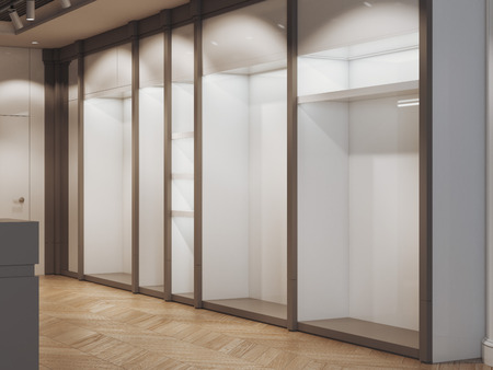 Empty shelves in the modern bright boutique. 3d rendering