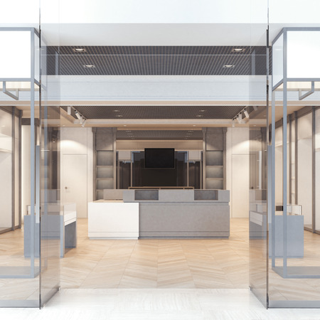 forepart: Modern boutique with glass doors and windows. 3d rendering Stock Photo