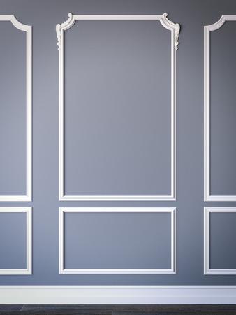 interior de estilo clásico y sencillo, con paredes de color azul. Las 3D