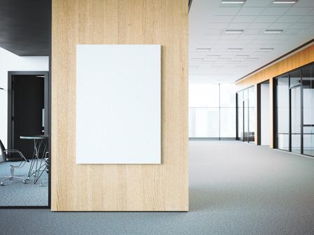 사무실 나무 벽에 빈 흰색 포스터입니다. 3 차원 렌더링