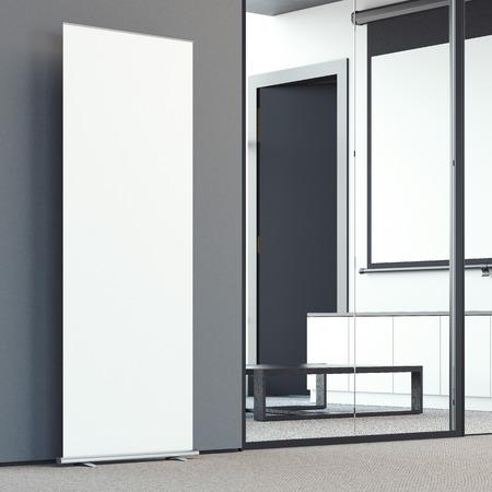 bunner: Blank roll up bunner in the modern office lobby. 3d rendering Stock Photo